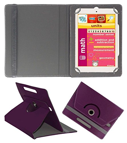 Acm Rotating 360° Leather Flip Case For Eddy Kids Learning Tab Tablet Cover Stand Purple  available at amazon for Rs.149
