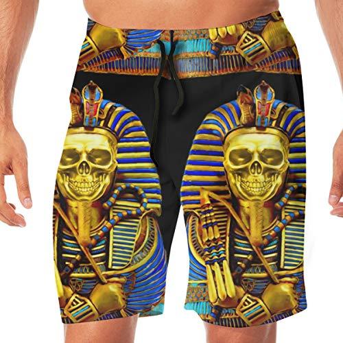 OOworld Männer Strand Shorts Ägypten ägyptischen König TUT Tutanchamun Pharao Gold Mummy Death Masks Cobra Schlangen Krone Schädel Badehose Quick Dry Pants mit Taschen, L