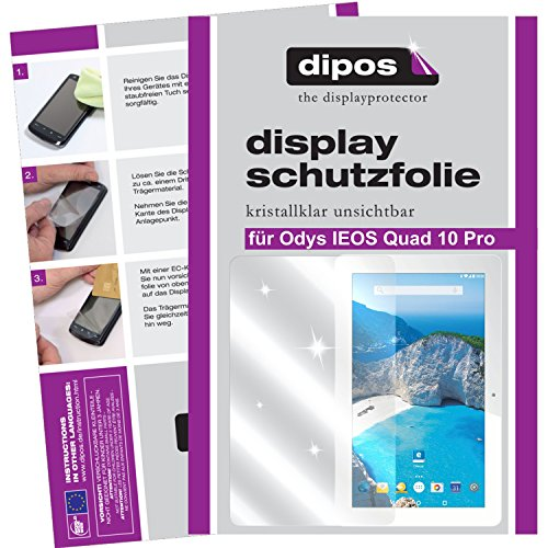 dipos I 2X Schutzfolie klar passend für Odys IEOS Quad 10 Pro Folie Bildschirmschutzfolie