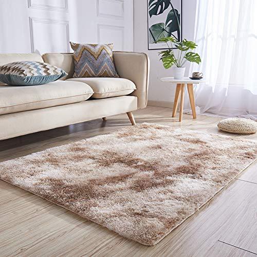 Stile moderno area tappeti shaggy spessi home soggiorno pavimento area tappetino grande morbido pelo pavimento tappeto antiscivolo passatoia, camel, 140x160 cm