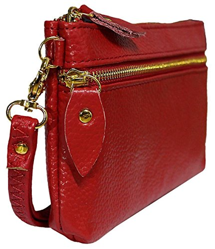 Top In Vera Pelle Lucida Premium Kukubird & Laterali Con Zip Con Cinturino Gestire Portafoglio Portamonete Donna Clutch Dark Brown
