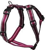 Feltmann Mopsgeschirr Hundegeschirr Soft Nylon, Pflaume mit Muster, 5-9 kg, 15mm