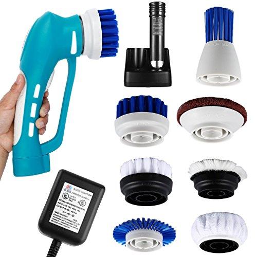 ICOCO Spin Scrubber Scrubber Bürste für Küche & Badezimmer Elektrische Hand Reinigungsbürste mit 7 Bürstenköpfen Wasserdicht IPX7 Akku betrieb