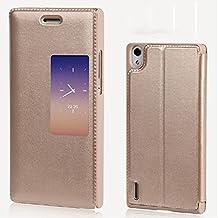 Prevoa ® 丨S View Flip Funda Cuero Carcasa Case Cover Para Huawei Ascend P7 - Oro