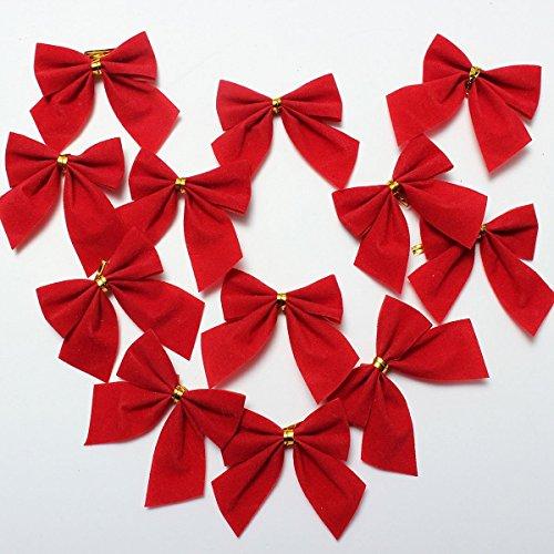Coscelia 12er Weihnachtsbaum-Deko Schleife Baumschmuck niedliche X-mas Weihnachtsbaum Anhänger-Rot-