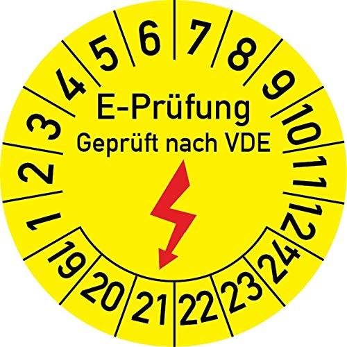 Elektro-Prüfung Geprüft nach VDE Prüfplakette, 500 Stück, in verschiedenen Größen, Prüfetikett Prüfsiegel Plakette Elektroprüfung (25 mm Ø)