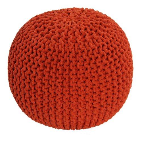Homescapes Pouf Tricoté Orange 100% Coton Repose-pied Rembourré des Billes le Salon, la Chambre des Enfants les Personnes Âgées.
