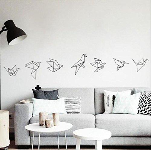 Madaye Geometrie Kraniche aus Papier Kind Dekoration Aufkleber grün Wand-Aufkleber
