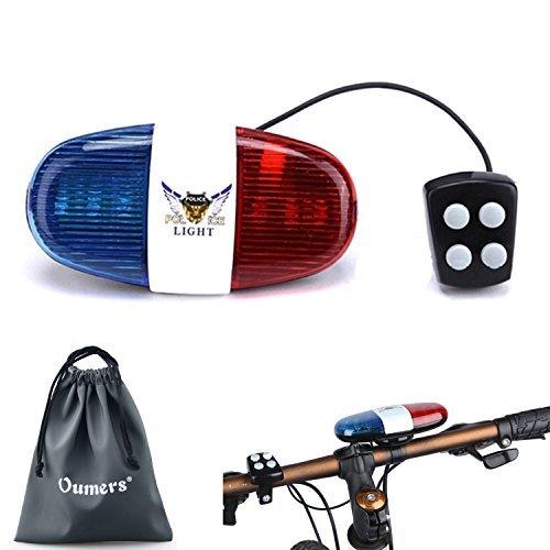 Oumers Fahrrad Polizei Sound Licht, Fahrrad LED Licht Elektrische Horn Sirene Horn Bell, 5 LED Licht 4 Sounds Trompete, Warnlicht, Wasserdichte Fahrradbeleuchtung Zubehör, Keine Batterien in