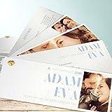 Edle Hochzeitseinladungen, Vollendung 200 Karten, Kartenfächer 210x80 inkl. weißer Umschläge, Blau