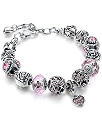 Sansar India Valentine Pandora Floral Rose Heart Charm Crystal Murano Glass Beads Bracelet for Girls and Women