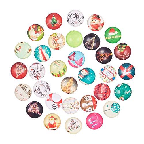 NBEADS 200Pcs Weihnachten Ornaments Hälfte Rund/Dome Weihnachten Foto Glas Cabochons, Gemischte Farbe, 12x 4mm -