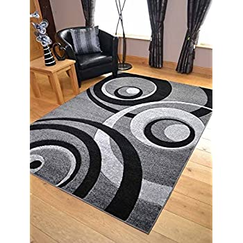 Grey Black Silver New Modern Thick Shaggy Rugs Large Small
