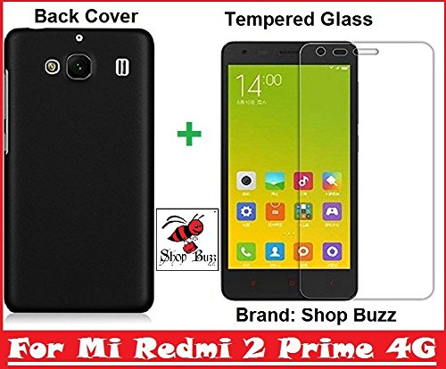 Shop Buzz ombo of Back Cover + Tempered Glass - Xiaomi Redmi 2 Prime 4G - By Shop Buzz (Black Back Cover and Tempered Glass Screen Protector For Mi Redmi 2 Prime)