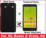 Mi Redmi 2 Prime 4G Combo of Back Cover + Tempered Glass – (Black Back Cover and Tempered Glass Screen Protector)