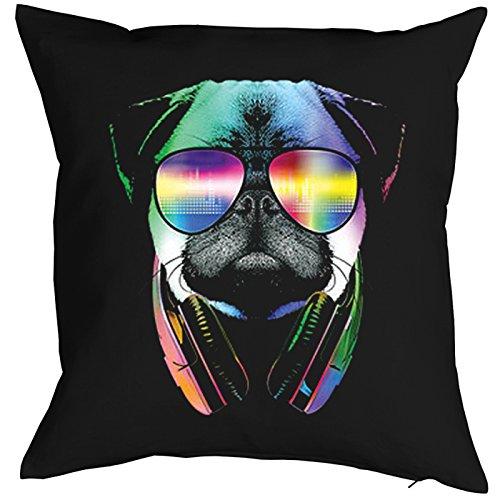 Kissenbezug für 40x40 Kissen mit buntem Hunde Motiv: DJ Pug, Mops mit Sonnenbrille und Kopfhörer - Kopfkissen - schwarz