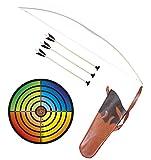Holzspielerei Kinderbogen 100 cm + Zielscheibe bunt + Köcher + 3 Pfeile Saugnapf 40cm im Set (100 cm)