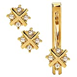 #8: Sanjog Impressive Diamond Crystals Gold Cufflink with Matching Tie Pin for Men Gift Pack