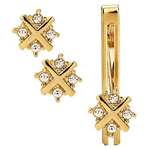 Sanjog Impressive Diamond Crystals Gold Cufflink With Matching Tie Pin for Men...