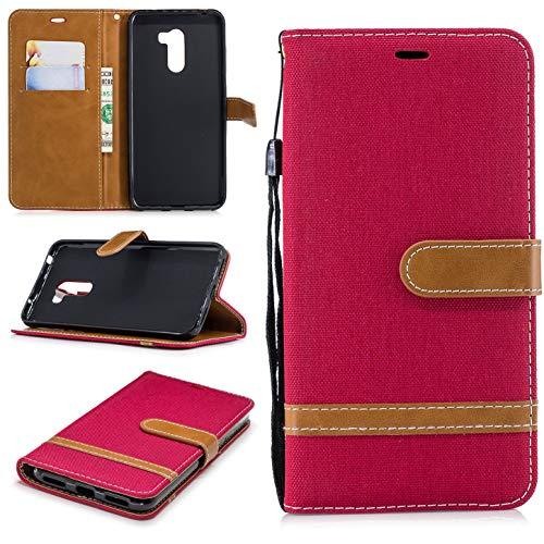 sinogoods Für Xiaomi Pocophone F1/Poco F1 Hülle, Premium Denim-Stoff Schutztasche Klappetui Brieftasche Handyhülle, Standfunktion Flip Wallet Case Cover - rot