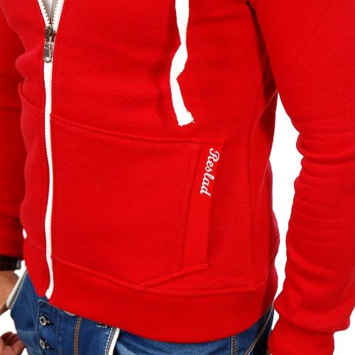 16986dfce804 ... Reslad Herren Kapuzenpullover Sweatjacke Jacke Chicago RS-1002 Rot