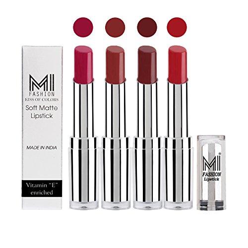 MI Fashion® Soft Creamy Matte Pout-Perfect Lipstick Set in 4 Vibrant Colours – Magenta, Brown Sugar, Maroon Rebel, Romantic Red