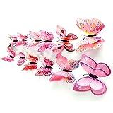 kingko® 12pcs 3D Schmetterlinge Wandsticker Aufkleber Wand-Deko Home Dekore (Rosa)