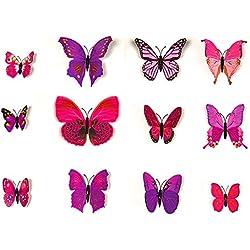 GerTong Creative Abnehmbare 3D Schmetterling Wand Aufkleber mit magnetischer, Bunt, Abziehen und Aufkleben Wand Aufkleber Deko für Living Schlafzimmer Dekorieren, 12 Lavendel