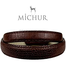 Michur Loxy brown art-leather dog collar with crocodile print for dogs available in different sizes