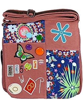 Umhängetasche Canvas Style mit aufgenähten Patches, Buttons und floralem Muster - Maße 28 x 29 cm - Damen Mädchen...