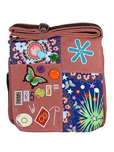 Umhängetasche Canvas Style mit aufgenähten Patches, Buttons und floralem Muster - Maße 25 x 25 cm - Damen Mädchen Teenager Tasche Altrosa