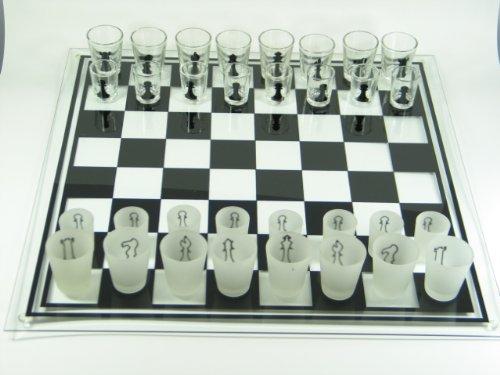 Schachbrett aus Glas 'Drinking Chess' groß Schachspiel Geschenk