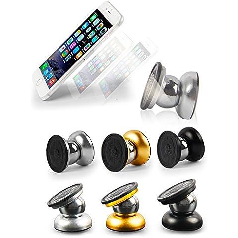 Matthey Teléfono celular magnética titular de montaje 360 ° Smartphone universal soporte para teléfono móvil 2da generación pegajosa del tablero de instrumentos del coche para Office, Home, GPS, iPhone 6, iPhone 5 / 5S / 5C / 4 / 4S, Samsung Galaxy S / S5 / S4 / S3 / Nota 3 , HTC uno, Nexus 7, Blackberry, LG, Nokia Lumia 920 y todos los teléfonos inteligentes ajustable(Oro, plata, negro, 3 color al