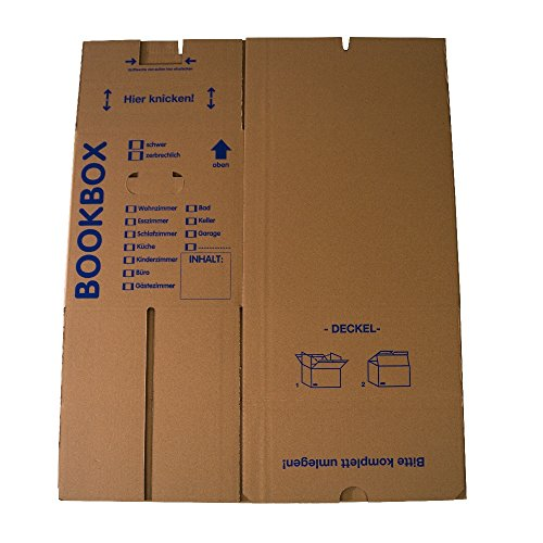 5 Bücherkartons 2 wellig in Profi Qualität Bookbox - 5