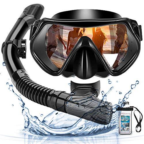 Arkmiido Snorkel Máscara, Kit de Snorkel,Máscara de Buceo de Silicona y Snorkel seco,Set para Snorkeling Máscara e Tubo,et de Snorkel Profesional para Adultos y jóvenes,Unisex Adulto