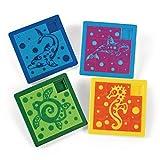 Meerestiere Schiebe-Puzzle 4 Motive 12 Stück Mitgebsel Kindergeburtstag Partytüten mit Palandi® Sticker