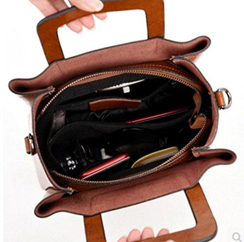 Handtaschen-Lederrindleder-Schulterbeutelart und weiseniet-Diagonaltasche der Damen 1