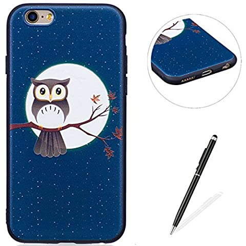 MAGQI iPhone 6/6S 4.7 Case,Anti-Scratch Shock-Absorption Shockproof Durable Gel TPU Cover,Cute Panda Owl Animal 3D Cartoon Pattern Design For iPhone 6/6S 4.7 Rubber Bumper Shell [with Black Stylus Pen],Premium Silicone Skin Drop Protection Case For iPhone 6/6S 4.7 - Owl Moon and Tree