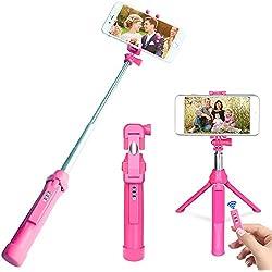 """Bastone Selfie, Peyou® [3 in 1] Bastone Selfie Bluetooth Estendibile Monopiede Tenuto a Mano Supporto Treppiedi w/ Otturatore a Telecomando Rimovibile fino ai 35.4"""" per Gopro Camera, iPhone X 8/8 Plus 7/7Plus 6s/6s Plus 6/6 Plus Samsung Galaxy S8/S8 Plus S7/S7 Edge e smartphone sotto i 6""""(Rosa)"""