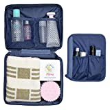 OxbOw® Travel Multi Pouch Multi Funtional Make up Organiser Cosmetic Bags Women and Men Handbag Small (21 * 16.5 * 7 Cm) (Navy Blue)