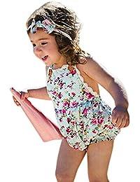 Covermason Bebé Niñas Floral Impresión Sin mangas Bodies Mono y Headwear(2 PC) (24M, Azul)