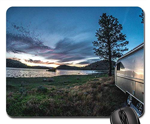 Mouse Pads - Airstream Trailer Rv Camping Sunset Water Lake (Trailer Für P)