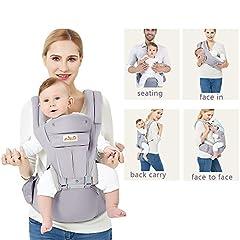 Idea Regalo - Viedouce Ergonomico Hipseat Baby Carrier, Portantina per bebè Ergonomica 360, 6 posizioni di trasporto, supporto a rete traspirante, Portantina Sicura per bambino, Zaino Trasporto Bebè, adattato al crescente del tuo bambino