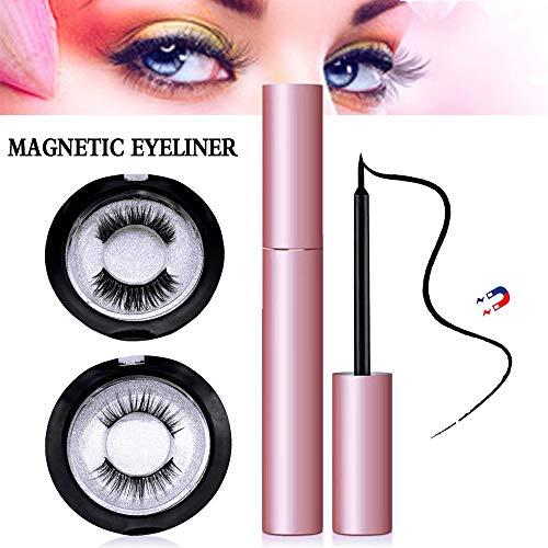 Magnetische Wimpern mit Eyeliner, schnell trocknender, wasserdichter, flüssiger Eyeliner Zur Verwendung mit magnetischen falschen Wimpern, 2 Paar, verschiedene 3D-Formen, für einen natürlichen Look