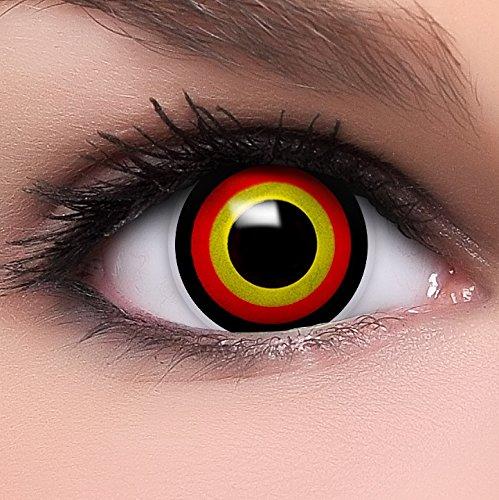 Linsenfinder Farbige Kontaktlinsen gelb rot 'Agro' +Kombilösung +Behälter ohne Stärke gelbe rote Fun Crazy Linsen perfekt zu Halloween und Karneval
