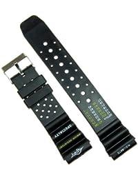 Correa de goma para reloj - Color negro - 22 mm