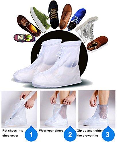 Eagsouni® 1Paar Regenüberschuhe Wasserdicht Schuhe Abdeckung Stiefel Flache Regen Überschuhe Regenkombi Schuhüberzieher Rutschfestem für Damen Mädchen Herren Jungen Weiß