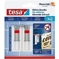 Tesa® Ajustable adhesivas Tornillo para azulejos y metal, spurlos reutilizables, fuerza de retención hasta 3kg