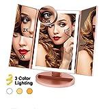FASCINATE Specchio per Il Trucco 3 modalità di Illuminazione a Colori 72 LED Specchio Cosmetico per Il Controllo del Tocco 1X / 2X / 3X / 10X Ingrandimento Tre Piega Specchio (Oro Rosa)
