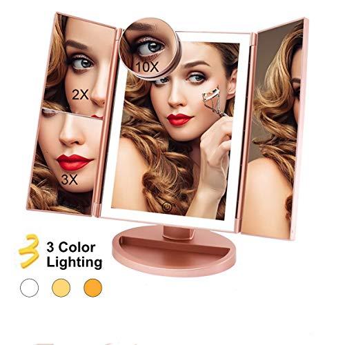 FASCINATE Espejo Maquillaje con Luz 3 Modos Iluminación Colores,72 Leds Tríptica Aumentos 3X, 2X,1x...